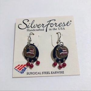 Silver Forest Patriotic Flag Earrings